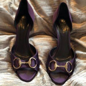 7d6d25f1d5a Gucci purple satin slip on heels.